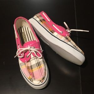 Sperry | Pink & White Plaid Top Siders